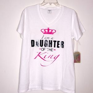 I am a DAUGHTER of the King V-Neck T-Shirt ~ XL